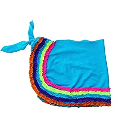 Azul Little Girls Blue Multi Color Trim Detail Chasing Rainbows Pareo 4/5
