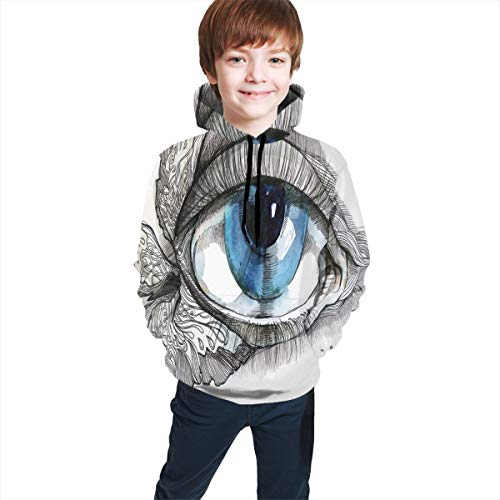 Teen Hooded Sweatshirts,Abstract Human Eye with Butterfly Eyelashes Painting Style Dreamy Female Look XL (Cosmos Eyelash)