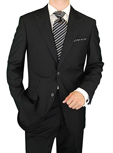 Price comparison product image Gino Valentino Men's Two Button Jacket Flat Front Pants Ticket Pocket Black Suit (42 Regular US / 52 Regular EU)