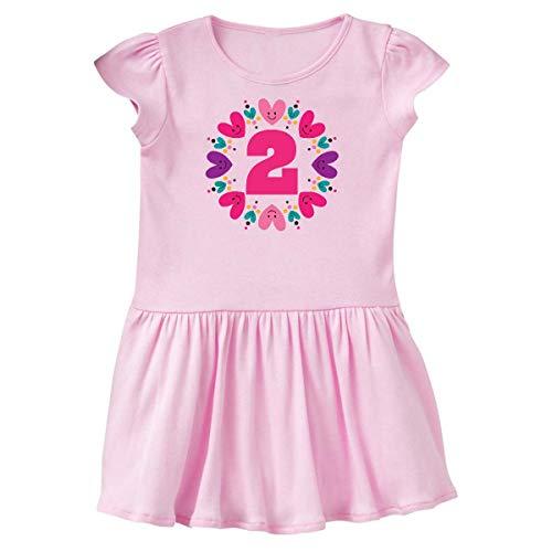 inktastic - 2nd Birthday Heart Wreath Toddler Dress 3T Ballerina Pink 35302 (Ballerina Heart Dress)