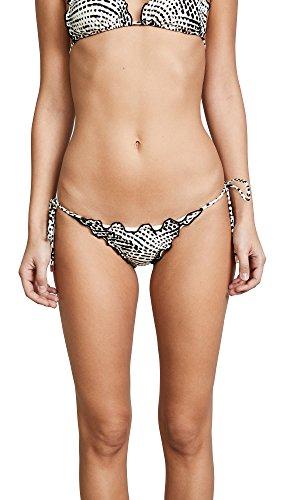 ViX Swimwear Women's Black Ripple Tie Side Bikini Bottoms, Pearl Black, (Ripple Tie)