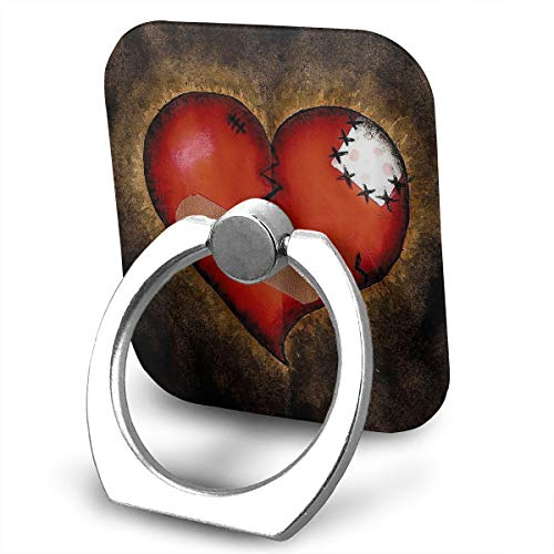Square Finger Ring Stand 360°Rotation Phone Holder Grip Broken Heart Band Aid Kickstand for Smartphones and Ipad