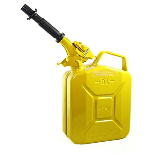 Wavian USA JC005YVS Authentic NATO Jerry Fuel Can and Spout System Yellow (5 Litre) ()
