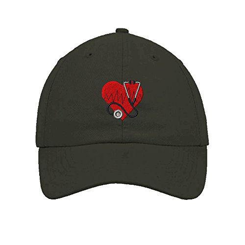 Speedy Pros Heart Medical Logo Nurse Embroidery Twill Cotton 6 Panel Low Profile Hat Dark Grey