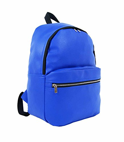 Jazzi A4 Large PU Fashion Backpack Rucksack - Bright Blue