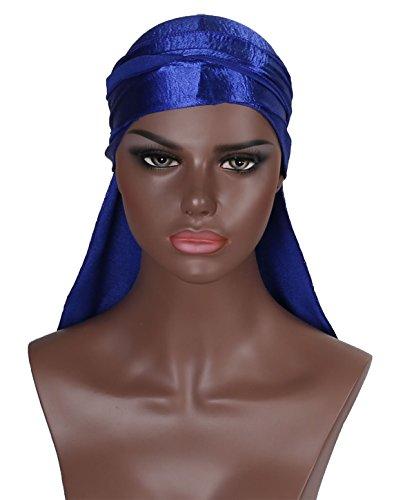 Boo Cap (Silk Durag Doo Du Rag – Blue Shinny Colored Mane Satin Du-rag Hat Men Smooth and Thick Cold Label Boo Boo Waves Deluxe Dorag Cap Silky)