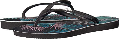 Havaianas Floral Black Flop Black Flip Slim Tropical Women's Pink Sandals ww14qUO