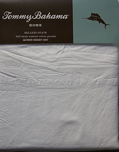 Tommy Bahama Home - White Queen Size Relaxed State Stone Washed Cotton Percale Sheet Set