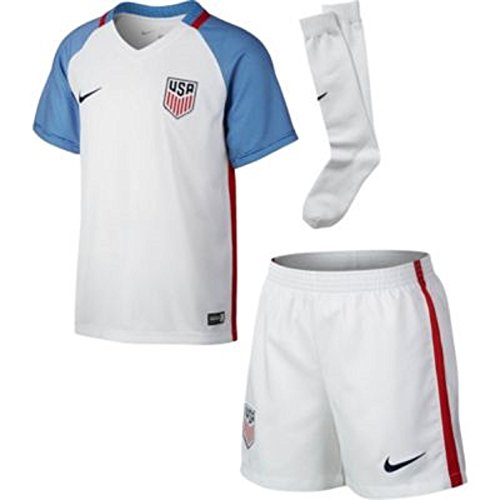 Nike Unisex Child USA Lil Boys Home Kit 2016-17 White/Blue/Red X-Large