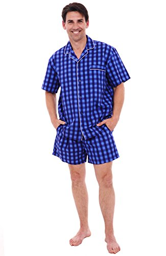 Alexander Del Rossa Mens Cotton Plaid Pajamas, Short Button-Down Woven Pj Set