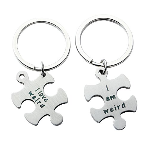 Meibai Couples Jewelry Stainless Steel Puzzle Pendant Necklace Keychain for Boyfriend and Girlfriend (Keychain-I AM Weird & I Love Weird)