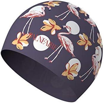 BALNEAIRE Silicone Long Hair Swim Cap for Women,Waterproof Flamingo Pattern Swimming Cap