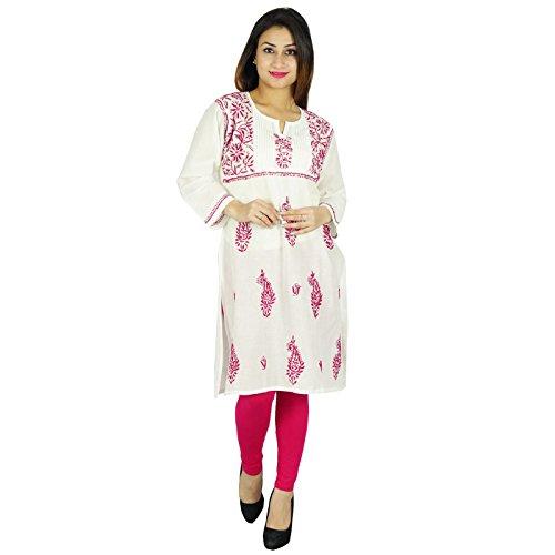 Diseñador indio étnico kurta Kurti Top casual de la túnica regalo para ella Mujeres De blanco y magenta