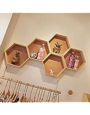 Storage Rack HOT-Nordic Style Nursery Kids Room Decoration Shelf Wooden Honeycomb Hexagon Shelves for Baby Child Bedroom Decoration Decoration Holder (Color : Wood Color)