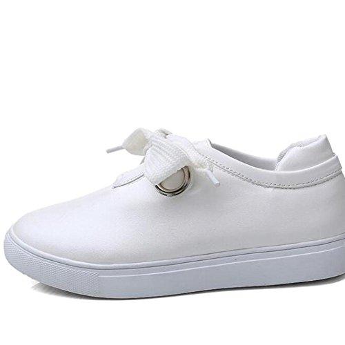 L@YC Femmes Chaussures plates Versatile Casual Chaussures Pour Femmes Dans Le Printemps šŠtudiant Tie Blanc Chaussures Blanc Noir , white , 42