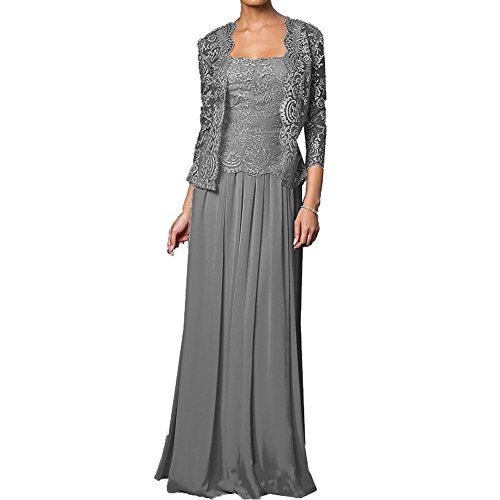 H.S.D Mother of The Bride Dress Long Formal Gowns with Jacket Steel Grey 18W