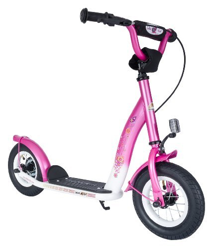 BIKESTAR Original Safety Pro Sport Push Kick Scooter Kids with brakes, mudguard and air tires for age 5 year old children | Classic Edition with Alloy Wheels 10 Inch | Glamour Pink & Diamond White