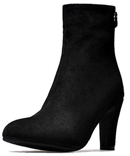 Comfy Heel Womens Zipper Boots High Easemax Black Pointed Toe Frosted Chunky 50q8xw