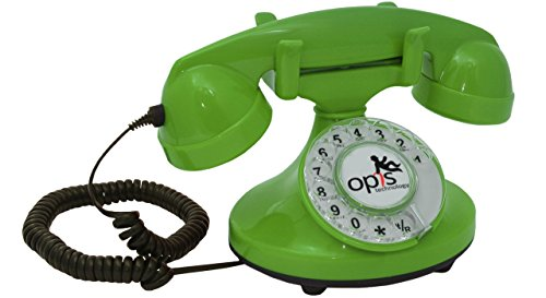 OPIS FunkyFon cable: Rotary dial disc telephone in the sinuous style of the 1920s with modern electronic bell (green)