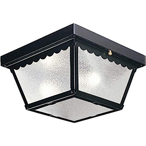 (Progress Lighting P5729-31 Metal Ceiling Light with Textured White Glass, Black)