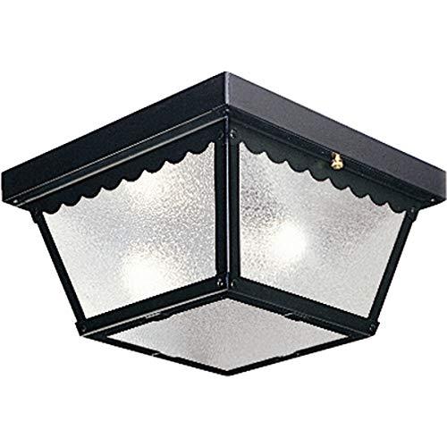 - Progress Lighting P5729-31 Metal Ceiling Light with Textured White Glass, Black
