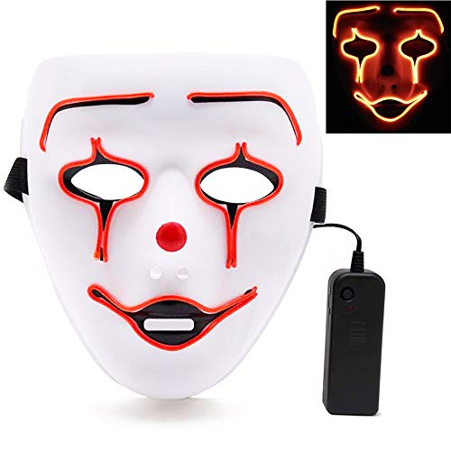 LED Halloween Mask, Halloween Scary Cosplay Light up Mask, EL Wire Mask Glowing mask for Halloween Festival Party Red