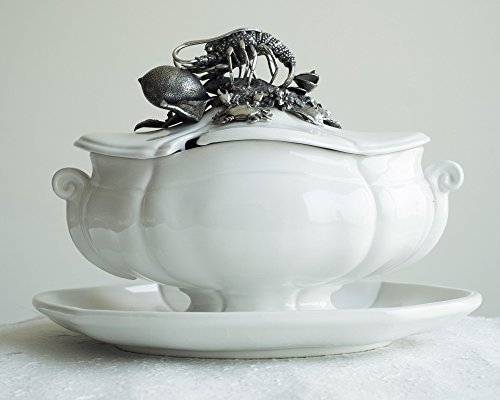 Vagabond House Sea Food Lobster Soup Tureen with Stoneware Tray 13