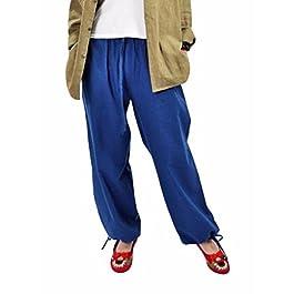 MUST WAY Women's Linen Elastic Waist Wide Leg Loose Harem Pants with Pockets