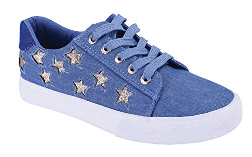 Cambridge Select Dames Gesloten Ronde Neus Lace-up Star Print Casual Atletisch Flatform Sneaker Blue Denim