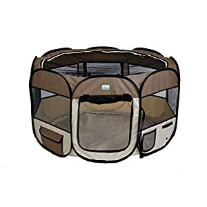 EXPAWLORER 45″ Dog Playpen Puppy Exercise Kennel Cats Pet Portable Foldable Pen Brown Click on image for further info.