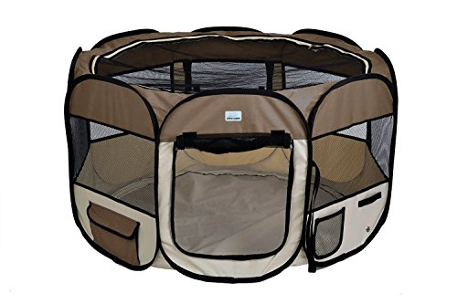 EXPAWLORER 45″ Puppy Playpen Dog Exercise Kennel Cat Portable Foldable Pen for Small Medium Pets, with Carry Bag
