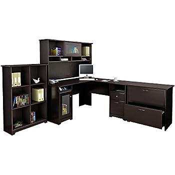 Amazon.com: Bush Furniture Cabot L Shaped Desk with Hutch ...