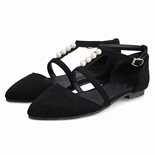 Women's Buckle Shoes Court Charm Pearl Shoes Mee Black Faux vwFR7