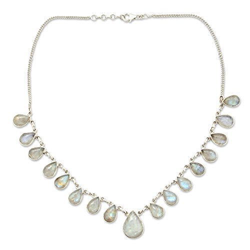 NOVICA Teardrop Rainbow Moonstone .925 Sterling Silver Pendant Necklace, 17