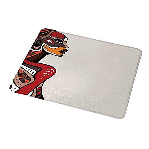 Personalized Mouse Pad African,Profile of African Beauty Totem Ethno Fashion Girl with Mask Tattoos Illustration,Customized Desktop Laptop Gaming Mouse Pad 9.8
