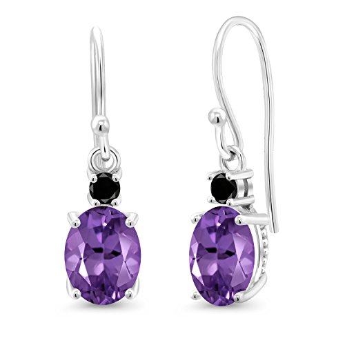 Gem Stone King 10K White Gold Dangle Earrings 2.13 Ct Oval Purple Amethyst Black - Natural Ct 2.13