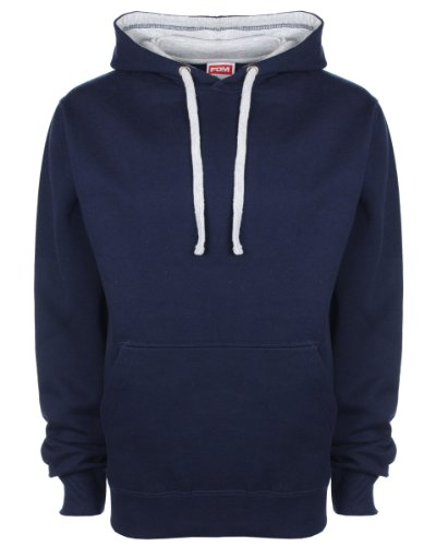 FDM Unisex Contrast Hoodie Navy/Heather Grey M