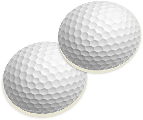 Golf Ball Sports Ceramic Car Coaster Pack (Set of 2) by P Graham Dunn
