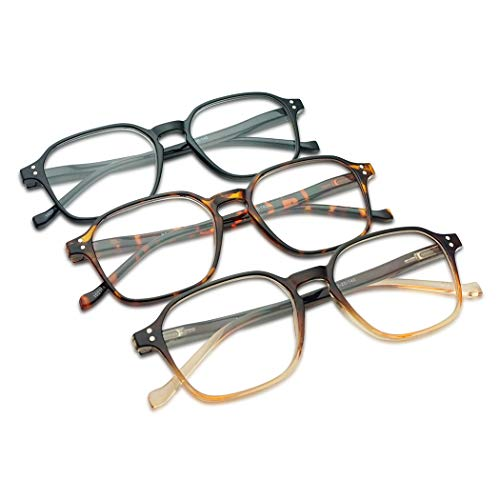 - 3 Value Pack Reading Glasses for Men & Women Vintage Square Hexagon Spring Hinges Two-Tone Colored Frames Assorted Rx Power Strengths +1.00 - +4.00 (Black, Tortoise, Brown, 1.50)