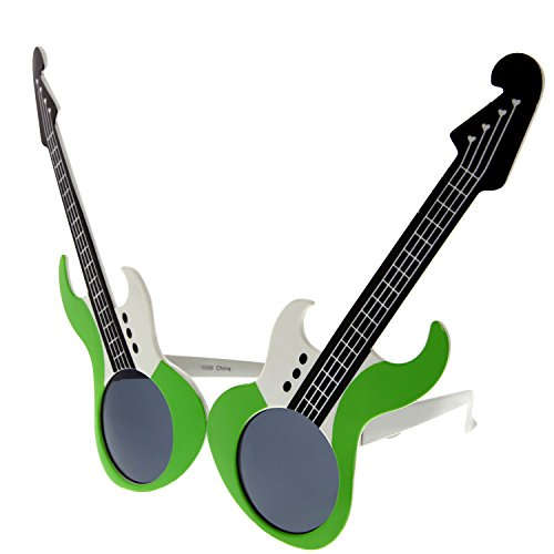 grinderPUNCH Rock and Roll Star Electric Guitar Music Sunglasses Costume Green -