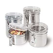 Oggi Stainless Steel Canister Set with Airtight Acrylic Lid and Clamp, 4-Piece