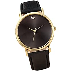 Sannysis(TM) 1PC Luxury Retro Design Leather Band Analog Alloy Quartz Wrist Watch (Black)