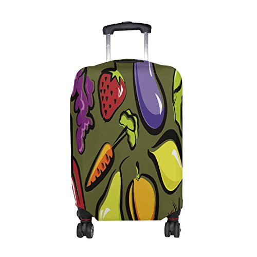 Jennifer Funny Fruit And Vegetables Dish Travel Luggage Covers Suitcase Protector Fits 26-28 in