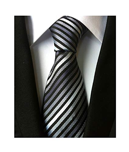 Men's Boys Fine Stripe Grey Black Jacquard Woven Silk Tie Formal Wedding Necktie