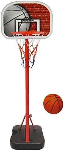 子供用 ゴールスタンド ポータブルバスケットボールシステムフープが子供のバスケットボールフープスタンドセットアジャスタブルポータブルバスケットボールシステム 室内屋外兼用 (色 : 赤, Size : One size)