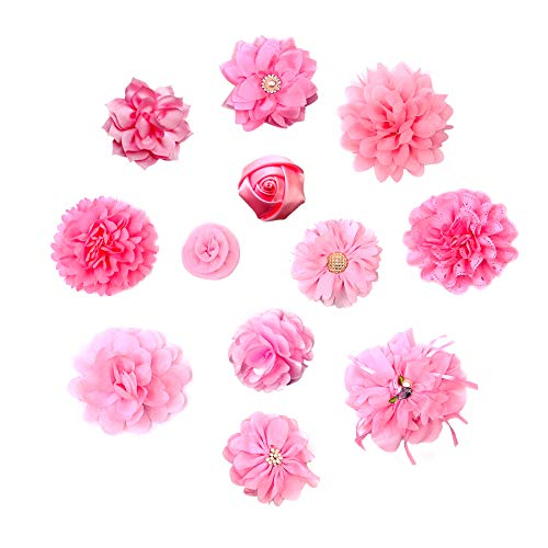 PET SHOW 12pcs Pink Dog Collar Bows and Flowers Attachment for Girls Puppies Cats Female Small Medium Dogs Collars…