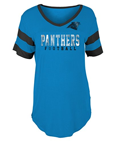 - New Era Carolina Panthers Women's Double Stripe Short Sleeve V-Neck T-Shirt XX-Large
