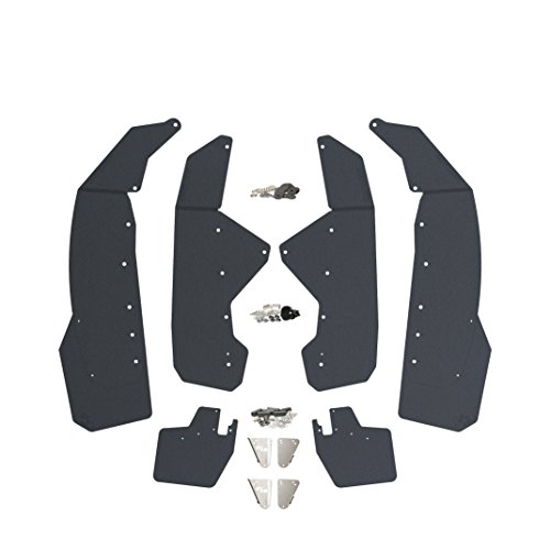 Can Am Maverick X3 Mud Flaps - Fender Flares by RokBlokz - Multiple Colors Available - Full set of 4 Mud Guards PLUS 2 Trailing Arm Guards. (Black, With V2 (Skids Mud Flap)