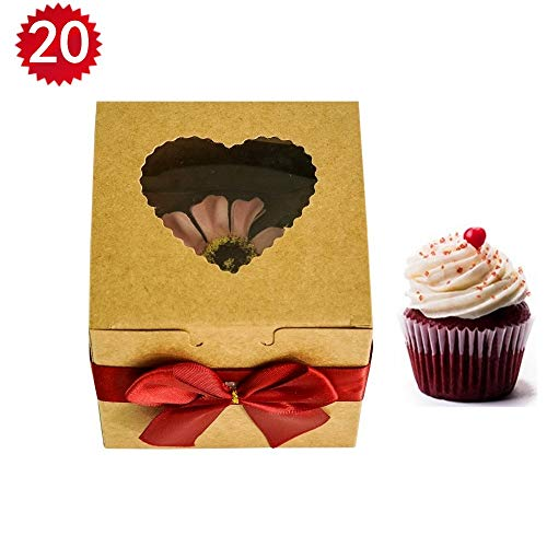 RomanticBaking Single Cupcake Boxes,20 Pack Heart-shaped Brown Kraft Bakery Boxes With Window For Wedding,Birthday,Party,Treats,and Baby Shower Favors (20, -