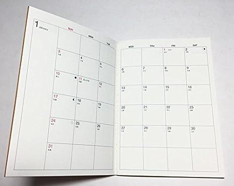 2016 calendario de MUJI rojo Nota con transparente case ...
